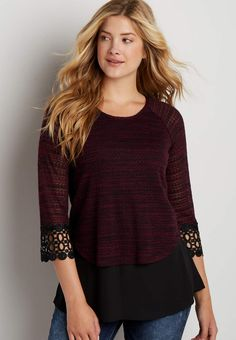 pullover with chiffon hem and crochet   maurices