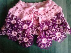 Loom flowers, crochet, little amethyst crystals