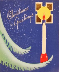 #551 30s Art Deco Candle on the Tree-Vintage Christmas Card-Greeting