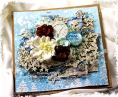 ScrapBerry's: Today Djamila Khiter made a beautifully layered wintery card with lots of details, ScrapBerry's handmade mulbery flowers and  embellishments
