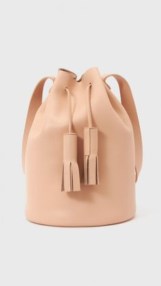 Building Block Drawstring Bucket Bag in Nude | The Dreslyn