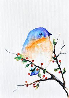 Pintura acuarela ORIGINAL pájaro en un árbol de primavera