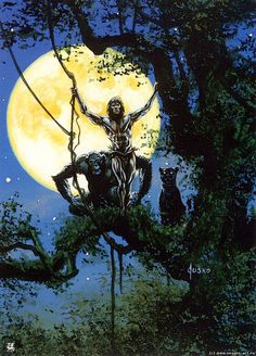 This Jusko painting would make for an awesome Tarzan statue. Description from… Tarzan Of The Apes, Tarzan And Jane, Dark Fantasy, Fantasy Art, Heavy Metal, Pin Up, Bad Art, Ink Master, Sword And Sorcery