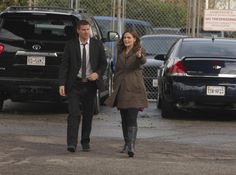 """Brennan (Emily Deschanel) and Booth (David Boreanaz) from """"The Prisoner in the Pipe"""" episode of BONES on FOX."""