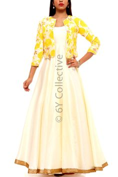Yellow Floral Jacket with Pearl Anarkali