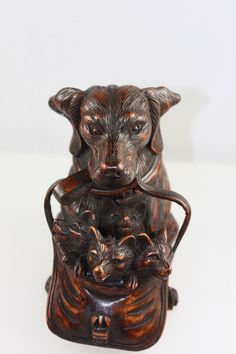 VINTAGE BLACK FOREST STYLE CARVED WOOD INKWELL DOG WITH PUPPIES GLASS EYES