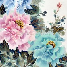 Chinese Peony Flower Hand Painted Floral Painting for Home Interior Decor