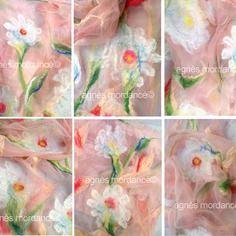 Grande étole soie ''ophélie'' 165x65cm rose nude - pure mousseline de soie feutrée - pièce unique