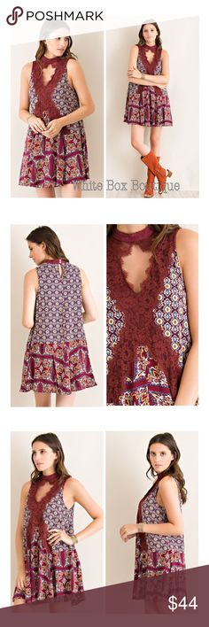 Boho Cutout Swing Tunic Dress Boho border cranberry multi print swing tunic dress. Features lace detailing, front and back keyhole cutouts with pearl button closures at the nape. Non sheer. Lined. Woven print. Lightweight. 100% Rayon. True to size boho relaxed fit. Dresses Midi