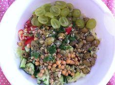 Summer salad (lettuce, tomato, cucumber, chickpeas, grapes, olives, sunflower and pumpkin seeds, parsley, lemon juice and olive oil) http://glutenfreelady.nl/