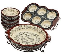 Temp-tations Old World or Floral Lace 8-pc. Ceramic Baking Set
