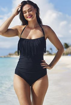 Eclipse Fringe Bandeau/Halter Swimsuit | Plus Size FIT SOLUTIONSTummy Controllers | OneStopPlus (In what world is she plus size ????????)