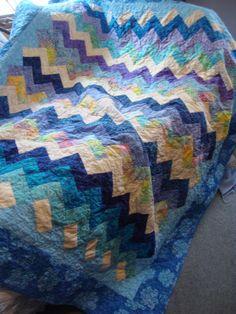 Lap Quilt Batik Blues Pastels Zig A Zag by MaryMackMadeMine, $250.00