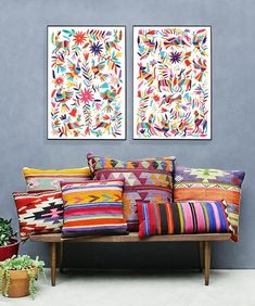 Set of two prints/Otomi mexico/Mexico print/Otomi/Mexican folk art/Otomi print/Extra large wall art/Otomi wall art/Printable art Mexican Style Decor, Mexican Bedroom Decor, Mexican Wall Decor, Mexican Style Bedrooms, Mexican Living Rooms, Mexican Colors, Mexican Interior Design, Casa Retro, Extra Large Wall Art