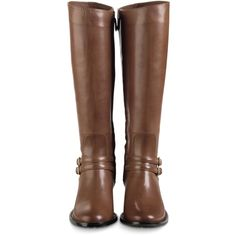 Cole Haan Dover Riding Boot ($150) ❤ liked on Polyvore featuring shoes, boots, botas, shoes - boots, woodbury, cole haan shoes, stacked heel boots, equestrian boots, leather upper boots and riding boots
