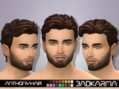 Anthony Hair by BADKARMA• Base Game Compatible. • Hat Compatible. • Teen-elder. • 18 EA Colors. • All LODS. • Maxis Match Hair. • You can retexture but don't include the mesh. • Please follow me and...