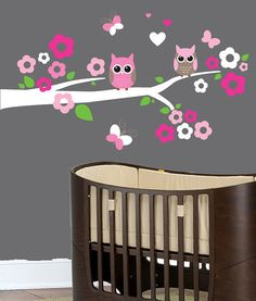 vinyl wall decal butterflies tree branch with birds owl by denclub