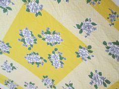 Mid Century Tablecloth ~ Yellow LATTICE, Blue ROSES Ivory Cloth ~ 44 x 52