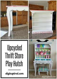 Repurposed Kids Play Kitchen Hutch - DIY Inspired Diy Kids Furniture, Repurposed Furniture, Kids Play Kitchen, Kitchen Hutch, Wooden Vanity, Upholstered Stool, Painted Drawers, Old Dressers, Kid Table