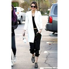 Kendall Jenner Classes Up Sweats With a Crisp Blazer See the... ❤ liked on Polyvore featuring celebrities
