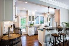 Dramatic interior remodel including kitchen, dining, and living areas by JRR as featured on HGTV Property Brothers. Kitchen Redo, Living Room Kitchen, New Kitchen, Kitchen Remodel, Dining Room, Kitchen Cabinets, Property Brothers Kitchen, Kitchen Photos, Updated Kitchen