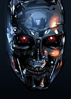 "Beautiful ""Terminator metal poster created by Nikita Abakumov. Our Displate metal prints will make your walls awesome. Terminator Tattoo, Terminator Movies, Terminator Costume, Futuristic Robot, Flower Phone Wallpaper, Science Fiction Art, Cool Posters, Print Artist, Cool Artwork"