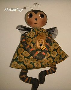 BABY BUMBLE BEE-Country Primitive Prim Antique Style Fabric Doll Folk Art