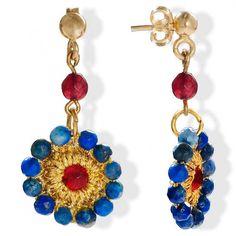 Handmade Vintage Crochet Drop Flower Earrings With Lapis Lazuli & Agate Flower Earrings, Crochet Earrings, Drop Earrings, Flower Jewelry, Lapis Lazuli Earrings, Agate Jewelry, Green Agate, Vintage Crochet, Vintage Flowers
