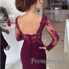 2016 elegant open back burgundy lace chiffon long prom dress with sleeves, ball gown, modest prom dress #coniefox #2016prom