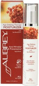 Aubrey Age-Defying Therapy Moisturiser with Sea Buckthorn. [Certified to contain organic ingredients that meet NSF/ANSI organic standards]. To refine and protect. Powerful antioxidant action and soothing hydration in a protective daily regimen for all skin types. Vegan. http://www.theremustbeabetterway.co.uk/aubrey-age-defying-therapy-moisturiser.html