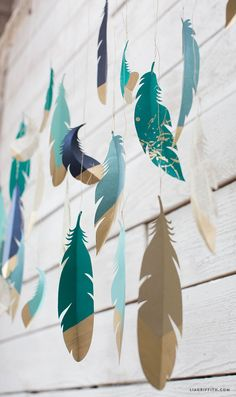 Paper Feather Wall Hanging www.LiaGriffith.com
