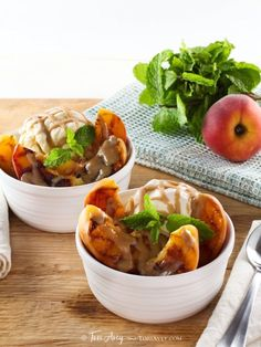 Grilled Peach Sundae with Brandy Butterscotch Sauce - Grilled ripe peaches and brandy butterscotch sauce served over tart vanilla frozen yogurt. Kosher, dairy.