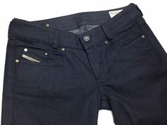 DIESEL Italy Lovely Women's 28/30 Dark Coated Low-Rise Flare Stretch Denim Jeans #Diesel #Flare   Denim Style   Shop at designerclothingfans.com