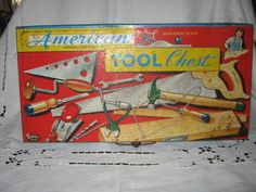 Vintage Toy Tool Chest/Box American GREAT COLOR  c.1950s