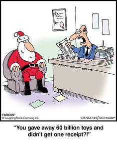 Farcus Comic Strip, Santa at Accounting Funny Cartoons, Funny Comics, Funny Jokes, Funny Sms, Laugh Cartoon, 9gag Funny, Christmas Jokes, Christmas Cartoons, Christmas Stuff