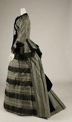 Dress  Date: 1870s Culture: American or European Medium: silk Dimensions: [no dimensions available] Credit Line: Gift of Mary Pierrepont Beckwith,