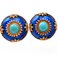 Blue Enamel Turquoise Repousse Gold Clip Earrings image 2