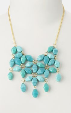 Turquoise Glass Bead Bib Necklace