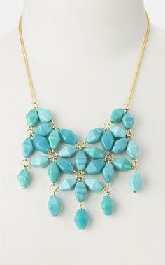 Turquoise Glass Bead Bib Necklace