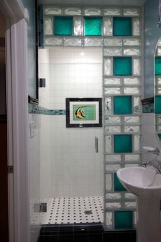 www.california glass tile   Glass block shower wall using 8 x 8 colored glass blocks and 4 x 8 ...