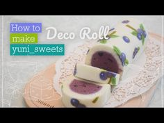 How to make blueberry design Roll cake! Tea Party Desserts, No Bake Desserts, Delicious Desserts, Food Cakes, Japanese Roll Cake, Baking Recipes, Cake Recipes, New Year's Cake, Special Recipes