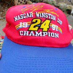 JEFF GORDON 1997 WINSTON CUP CHAMPION HAT FREE SHIPPING!! Jeff Gordon, Rock Painting, Nascar, Painted Rocks, Champion, Baseball Hats, Super Cute, Free Shipping, Baseball Caps
