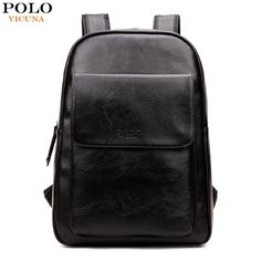 VICUNA  font  b POLO  b   font  Fashion Unisex Leather Backpack Casual Man  Laptop Backpack High School Backpack For Laptop  font  b Travel  b   font   ... 1243c2a3c41d5
