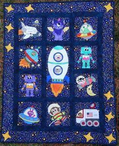 """Explore the vast reaches of space with our new """"Space Race"""" quilt pattern! Episode 1 begins today. Boys Quilt Patterns, Applique Patterns, Pattern Blocks, Quilting Patterns, Quilting Projects, Sewing Projects, Farm Animal Quilt, Baby Boy Quilts, Kid Quilts"""