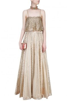 Gold embellished crop top with off white skirt BLUSHING COUTURE BY SHAFALI…