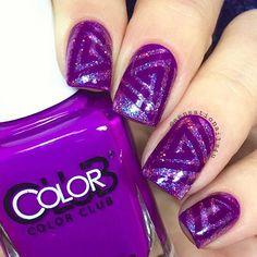 Super purple manicure by @sensationails4u  Thank you!  Get triangle swirl nail vinyls at snailvinyls.com!✨ - Triangle Swirl #NailVinyls snailvinyls.com