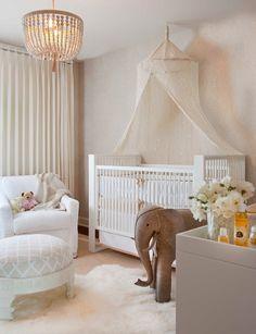 Lori Gentile - nurseries - ducduc Austic Crib, World Market Indian Gauze Canopy, Presidio Glider, White Chakki Ottoman, Oversized Wool Felt ...