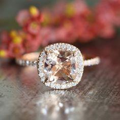 Halo Diamond Morganite Engagement Ring in 14k Rose Gold Pave Diamond Wedding Band 8x8mm Cushion Cut Gemstone Ring (Wedding Set Available) by LaMoreDesign on Etsy https://www.etsy.com/listing/195285484/halo-diamond-morganite-engagement-ring