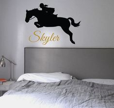 Hunter Jumper personalized - Vinyl Wall Decal Sticker I love Horses Teen Girl Bedroom Decor English Dressage Equestrian Customized Wall Art