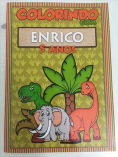 Lembrancinha infantil- revistinha para colorir personalizada tema dinossauro